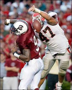 a8c42da04 Iconic end zone interception by David Pollack against South Carolina. Derek  Arnold · Georgia Football