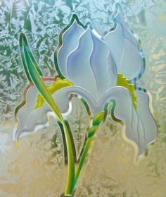 Sandblast Frosted Glass by Sans Soucie, this Iris flower is a 3D ...