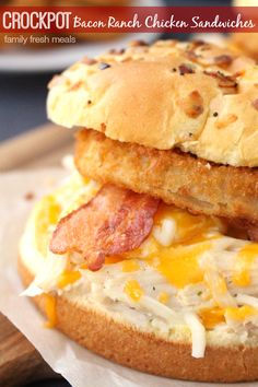 Crockpot Bacon Ranch Chicken Sandwiches  - An easy family dinner everyone will LOVE - familyfreshmeals.com