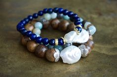 Boho luxe lapis lazuli, pearl and raw brass bracelet from The Pillow Book