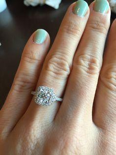 Round center diamond with halo. Sparkley!