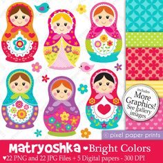 Russian nesting dolls - Matryoshka - Bright Colors - Cliparts - MYGRAFICO DIGITALS: Clipart, Digital Paper, Digital Stamp, Party Printables