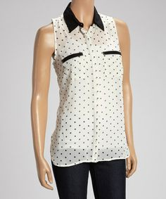 Love this White & Black Sheer Polka Dot Sleeveless Button-Up by Millenium Clothing on #zulily! #zulilyfinds