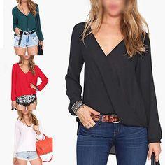 Moda Sexy Mujer floja gasa con cuello en V Tops manga larga T Shirt Blusa Casual in Ropa, calzado y complementos, Ropa de mujer, Camisas y tops | eBay