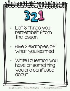 I LOVE 3,2,1...such a quick and simple way to assess what my kiddos have learned!