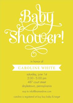 Personalized Yellow Baby Shower Invitations