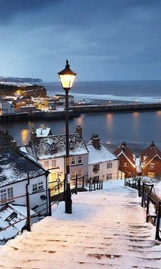 Whitby covered by snow, North Yorkshire, England. Born in England 1950 left in 1962 must return one day. Yorkshire England, North Yorkshire, Yorkshire Dales, Places Around The World, Oh The Places You'll Go, Places To Travel, Places To Visit, Around The Worlds, Vacation Places
