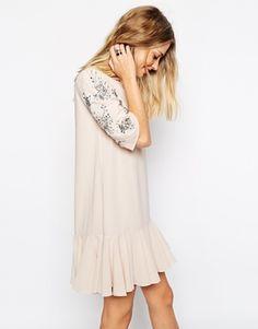Needle & Thread Embellished Sleeve Crystal Petal Dress