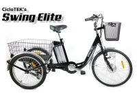 """Triciclo Eléctrico CicloTEK Swing ELITE Negro - El """"hermano mayor"""" de nuestro popular Triciclo Swing. Un triciclo para adultos, con pedaleo asistido eléctrico, ahora más grande y más equipado. Dispone de un panel LCD con 5 niveles de asistencia, limitador de potencia (3 niveles) y batería de 10 AH con celdas Samsung. En la parte ciclo, destacan sus ruedas de 24"""" y 20"""" (del/tras) y el cambio Shimano SIS con 6 velocidades. Vea las características ampliadas para más información."""