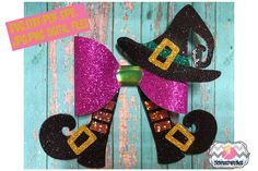 Halloween Witch Hat and Legs Hair Bow Template example image 1 Halloween Hair Bows, Halloween Witch Hat, Felt Hair Bows, Diy Hair Bows, Diy Bow, Diy Ribbon, Ribbon Flower, Ribbon Hair, Fabric Flowers