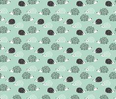 Scandinavian sweet hedgehog illustration for kids gender neutral black and white mint fabric by littlesmilemakers on Spoonflower - custom fabric