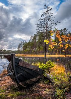 Boat on the shore in autumn (Finland) by Asko Kuittinen Raw Beauty, Helsinki, Boats, Autumn, Fall, Tourism, Images, Country Roads, Landscape
