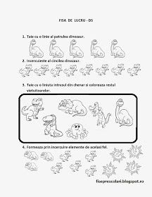 Fise de lucru - gradinita: FISE de lucru cu DINOZAURI -DS - Matematica Dinosaur Activities, Kindergarten, Kids, David, Homeschooling, Decor, Dinosaurs, Simple Lines, Young Children