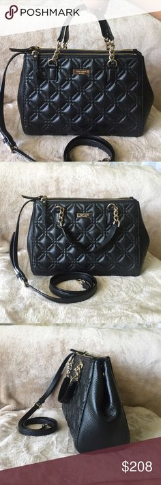 """Authentic KateSpade Small Loden AstorCourt Satchel Authentic Kate Spade Small Loden Astor Court Satchel Bag. Style WKRU3289. New with tag. Color- Black. Made leather w/ embossed & shimmer look pattern, w/ pink ksny signature inside lining & 14-karat light gold plated hardware. Its a magnetic top closure w/ front/back zip top compartments & removable  adjustable long strap & interior zip + double slide pockets. Dimensions- 8.25"""" H x 11"""" W x 4.5"""" D & 5"""" handle drop height & 18-20.5""""…"""