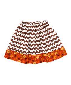 Loving this Brown Chevron Harvest-Trim Twirl Skirt - Infant, Kids & Tween on #zulily! #zulilyfinds