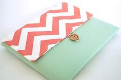 Coral Chevron Laptop Case with Pocket, Laptop Sleeve for 13 inch MacBook Pro, MacBook Air, Custom Bag Clutch