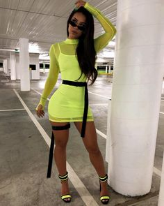 Neon Lime Green Mesh See Trough Long Sleeve Mini Bodycon Dress Sexy Two Piece Set Vestidos Night Club Ibiza Outfits, Neon Outfits, Edgy Outfits, Fashion Outfits, Fashion Models, Two Piece Dress, The Dress, Ropa Color Neon, Vestidos Neon