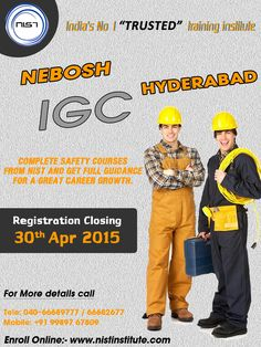 Get full guidance for a great career growth. Learn IGC to achieve a safety officer job and boost your career as a professional. We are conducting IGC course in Hyderabad. Registration closing on 30th April 2015.