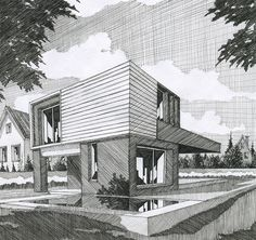 Just love the background idea 😍 Architecture Concept Drawings, Architecture Sketchbook, Landscape Architecture, Perspective Sketch, Building Sketch, Ligne Claire, House Drawing, Technical Drawing, Architect Design