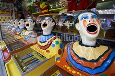 Moving clown head game to win prizes at A&P show. Nocturne, Clowning Around, Creepy Clown, Fun Fair, Seven Wonders, Childhood Memories, Westfield Sydney, Artsy, Carnival Rides