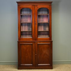 OnlineGalleries.com - Victorian Mahogany Antique Glazed Bookcase on Cupboard