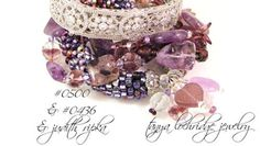 """Tanya Lochridge Jewelry Amethyst Multi-Strand Sterling Silver Gemstone Bracelet stacked with a vintage heart """"friendship"""" bangle from my collection & a wonderful early bangle from Judith Ripka. #judithripka #tanyalochridgejewelry"""