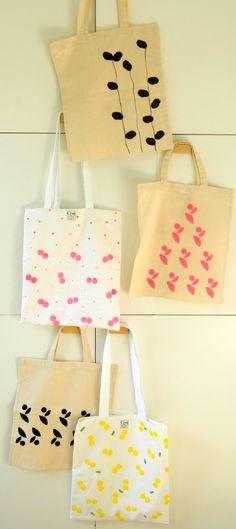 Cinq, sérigraphie sur tissus / diy / trousses / sacs / corbeilles / accessoires: TOTE BAG