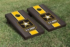 US Army Cornhole Game Set Onyx Stained Stripe Version