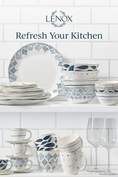 You've made your renovations, now it's time to spruce up your cabinets with new dinnerware! Lenox's Blue Bay dinnerware collection features mix-and-match patterns and unique, textured shapes for a playful and fresh approach to dining. Kitchen Tile, Kitchen Pantry, Kitchen Dining, Dining Ware, Everyday Dishes, Dining Room Design, Tablescapes, Apartments, Bbc