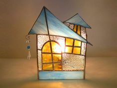 Stained Glass Lamp Turquoise Ice Cottage от FleetingStillness