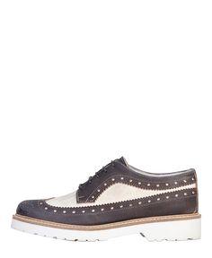 Ana lublin scarpe donna - collezione primavera/estate 2015 - made in italy - scarpa inglesina allacciata multicolore - t - Stringata donna biana Nero