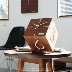 4seasons | оптимистический Глобальный рынок: настольные часы настольные часы головоломка подставка Тип м Тип М головоломок стенда переклейки грецкого ореха кубики шикарные деревянные часы * заказанный товар