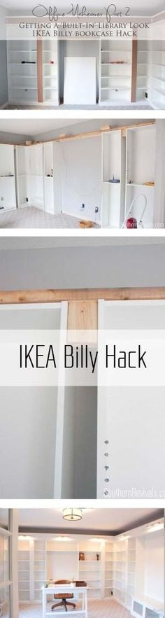 IKEA Hack with built-in Billy bookcases - how we got an expensive built-in library home office look on a budget. by elinor