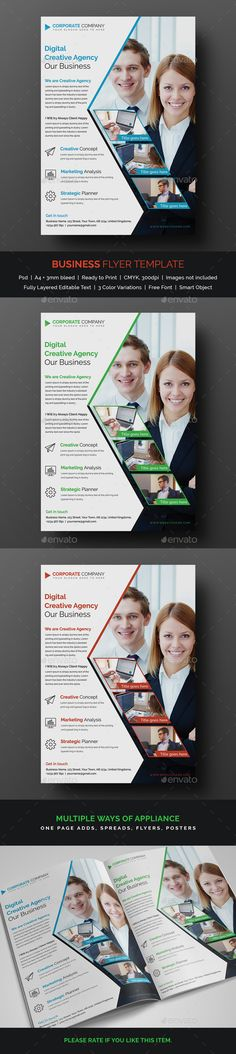 #Business #Flyer - Corporate Flyers Download here:  https://graphicriver.net/item/business-flyer/19525815?ref=alena994