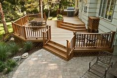 A patio off of a deck! A patio off of a deck! Patio Plan, Backyard Patio, Patio Deck Designs, Patio Design, Landscaping Design, Patio Ideas, 2 Tier Deck Ideas, Back Deck Designs, Covered Deck Designs