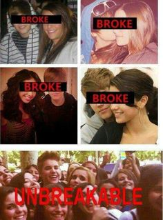 BELIEBERS will never b broken apart!! You can even see that he's faking a smile for the picture with his ex-girlfriends, but with his beliebers, he's smiling so much without even thinking about it. That is what I call family. <3 #BELIEBERFOREVER #HEARTBREAKER #UNBREAKABLE