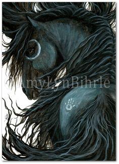 Majestuoso caballo Caminasueños Friesian-láminas por AmyLynBihrle