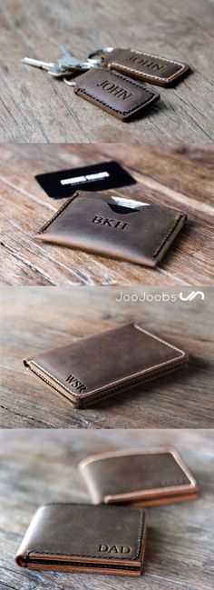 Here is a small sampling of handmade leather products from JooJoobs. From the top down we have their personalized padded keychain minimalist front pocket wallet passport wallet and the personalized mens leather bifold wallet. Visit JooJoobs and find a Handmade Leather Wallet, Leather Gifts, Leather Keychain, Leather Men, Cute Gifts, Best Gifts, Top Gifts, Motif Paisley, Valentine Day Gifts