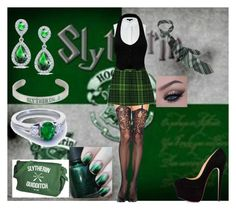"""""""Slytherin/St Trinians uniform"""" by hugo-mops ❤ liked on Polyvore featuring Chicnova Fashion, Alexander Wang, Anna Sui, Blue Nile and Bling Jewelry"""