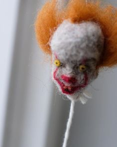 Close up of Pennywise, he's about needle felted pure evil! Needle Felting, My Drawings, Parrot, Pure Products, Bird, Halloween, Parrot Bird, Parrots, Birds