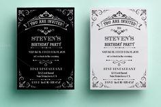 black and white birthday invitation templates free