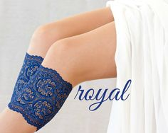 These boot cuffs are made of high quality lace in royal blue. They will look perfect peeking out above your favorite boots or combined with knee high