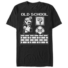 Old SchoolOld school Mario is the man of the hour with the Nintendo Mario Old School Black T-Shirt. The pixelated graphics from Super Mario Bros. are  in white with Old School above for a cool Nintendo graphic tee that will take you back to your NES days.Nintendo Super Mario