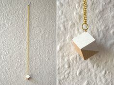 Necklace  white / natural wood  cube by thingslikediamonds on Etsy, $20.00