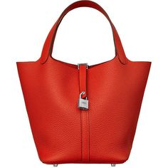 Hermès Picotin Lock 22 Bag ($2,950) ❤ liked on Polyvore featuring bags, handbags, red leather bag, real leather bags, locking purse, red purse and lock bag