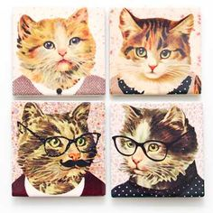 Dress Up Cat Coasters. Set of four coasters with d ifferent cute cat design on each coaster. Gifts For Female Friends, Cat Dressed Up, Cat Coasters, Flamingo Gifts, Sass & Belle, Cat Dresses, Fancy Dress Up, Quirky Gifts, Great Housewarming Gifts