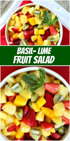 Basil Lime Fruit Salad recipe from RecipeGirl.com #basil #lime #fruit #salad #recipe #RecipeGirl Easy Holiday Recipes, Easy Delicious Recipes, Healthy Eating Recipes, Healthy Cooking, Vegetarian Recipes, Berry Smoothie Recipe, Protein Smoothie Recipes, Healthy Smoothies, Fresh Fruit Salad