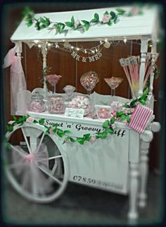 Our Traditional Sweet Cart with Pink & White Theme for a Wedding #sweetcart #candycart #sweets #candy #buffet #wedding #party #christening #flowers #vintage #mrandmrs