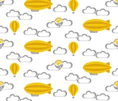 Yellow zeppelin fabric by analinea on Spoonflower - custom fabric