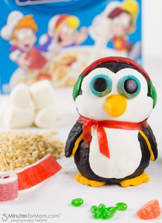 How to make toy-shaped Rice Krispies treats.  This penguin Rice Krispies Treat will turn into a real toy through the TreatsForToys program. Sponsored.